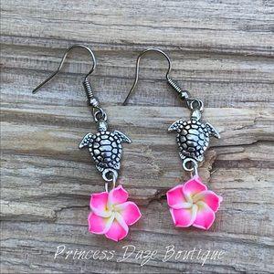 Pink Hawaiian Flower Turtle Dangle Earrings